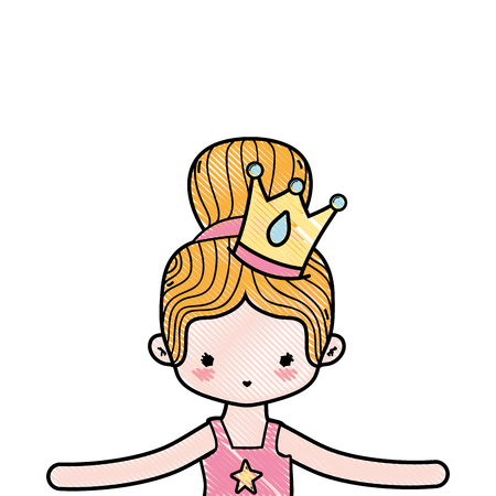 grated girl dancing ballet with bun hair and crown Illustration