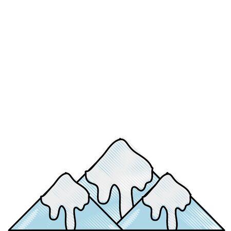 geraspte natuurlijke besneeuwde berg en koud weer vector illustratie