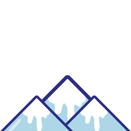volledige kleuren natuurlijke sneeuwberg en koud weer vectorillustratie