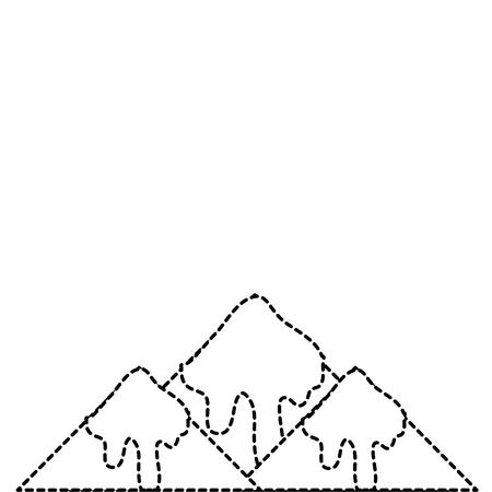 gestippelde vorm natuurlijke besneeuwde berg en koud weer Stock Illustratie