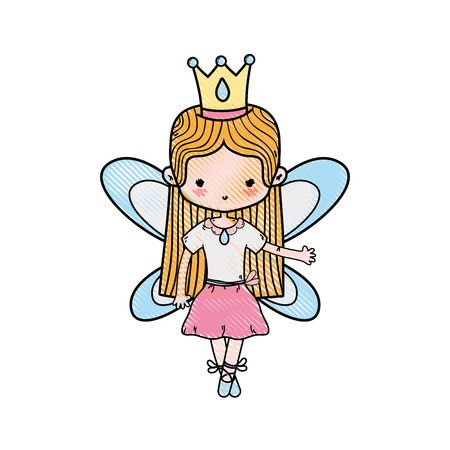 grated girl dancing ballet with straight hair and wings vector illustration