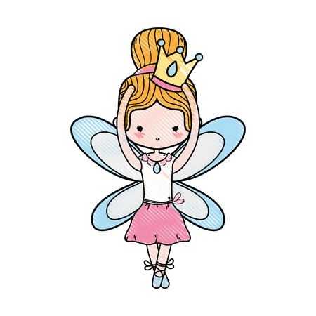 grated girl dancing ballet with crown and wings design vector illustration
