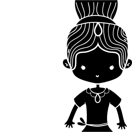 contour girl dancing ballet with bun hair with crown decoration vector illustration