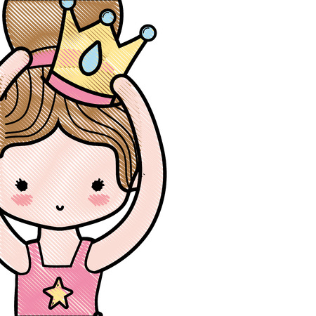 grated girl dancing ballet with bun hair design and crown decoration vector illustration