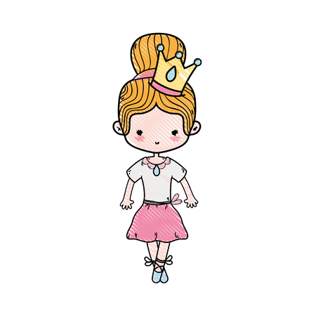 grated girl dancing ballet with crown decoration vector illustration Illustration