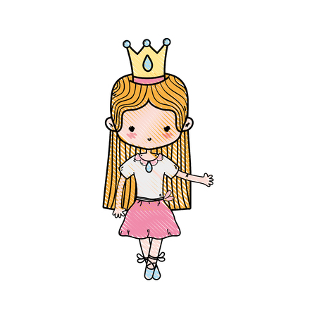 grated girl dancing with crown and straight hair design vector illustration