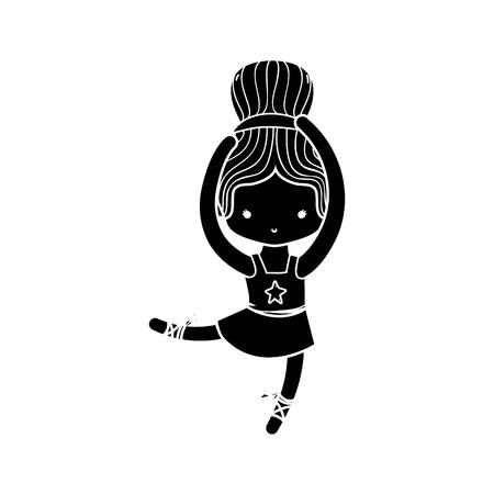 contour ballerina pactice dancer with hair bun
