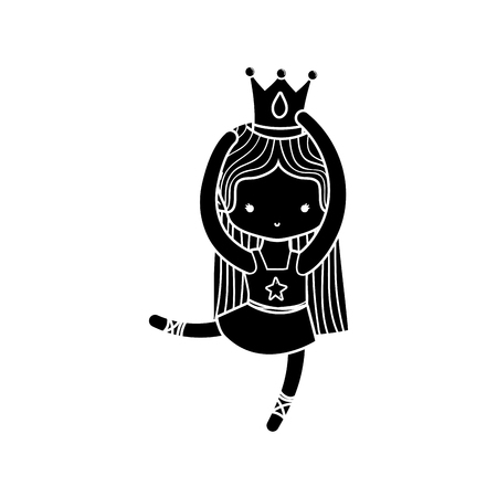 contour girl dancing ballet with professional clothes and crown vector illustration Vettoriali