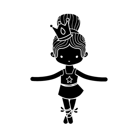 contour girl practice performance ballet with bun hair design and professional clothes vector illustration