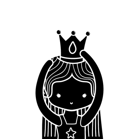 contour girl practice ballet with straight hair and crown Illustration