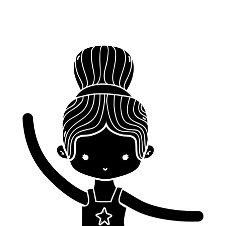 contour girl practice performance ballet with bun hair design vector illustration Illustration