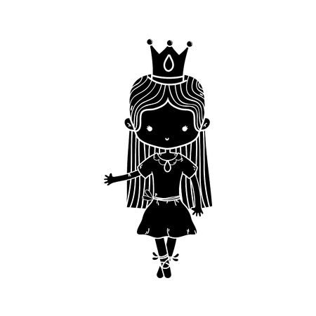 contour girl dancing with crown and straight hair design Illustration