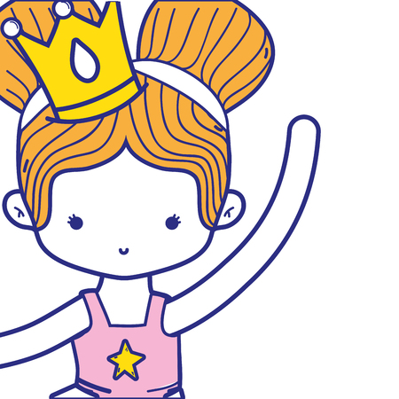 colorful girl dancing ballet with two buns hair Illustration
