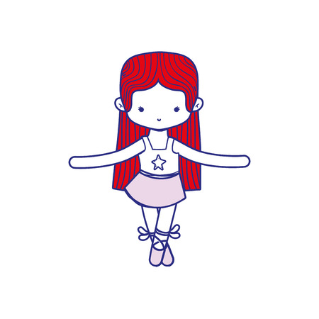 colorful girl dancing ballet with straight hair Illustration