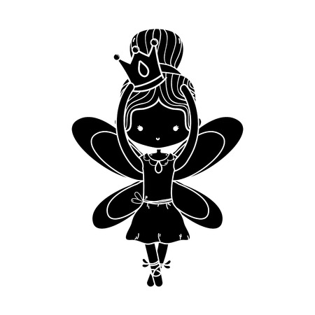 contour girl dancing ballet with crown and wings design Illustration
