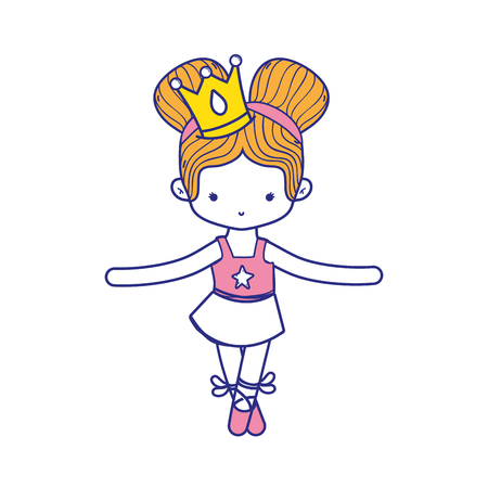 colorful girl practice ballet with two buns hair design and professional clothes
