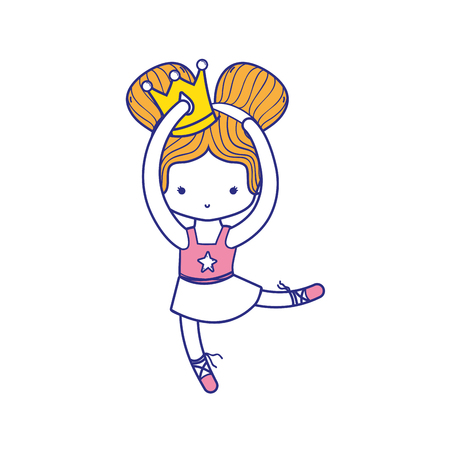 colorful girl practice perfomance with crown decoration and professional clothes Illustration