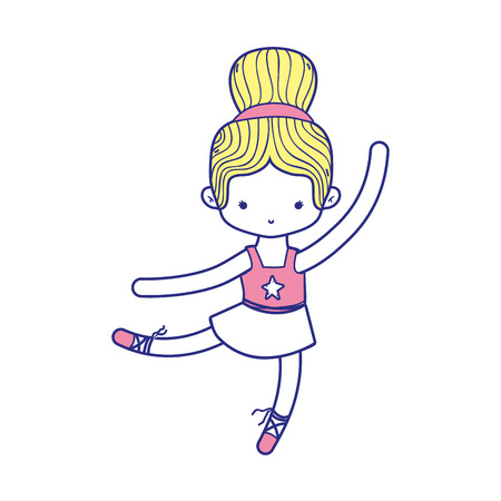 colorful ballerina pactice dancer with hair bun