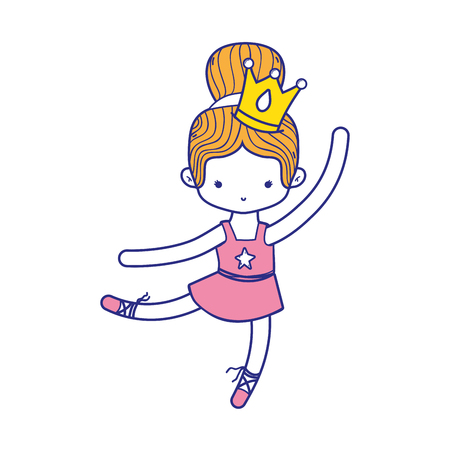 colorful girl practice ballet with bun hair design and professional clothes Illustration