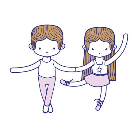 colorful couple practice ballet with professional clothes vector illustration