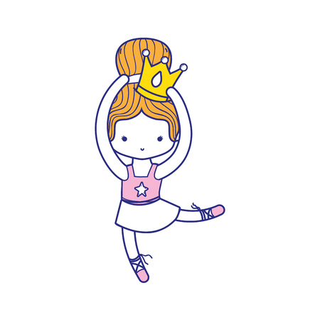 colorful girl dancing ballet with crown decoration and bun hair