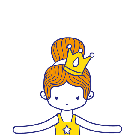 colorful girl dancing ballet with bun hair and crown vector illustration