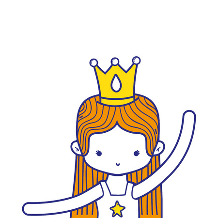 colorful girl practice ballet with straight hair and crown vector illustration Illustration