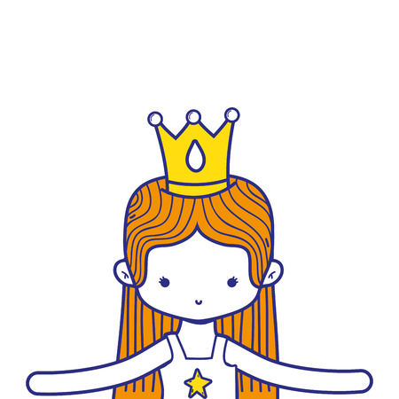 colorful girl dancing ballet with straight hair and crown vector illustration Illustration