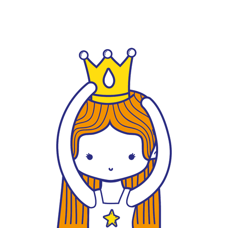 colorful girl practice performance ballet with straight hair and crown vector illustration Illustration