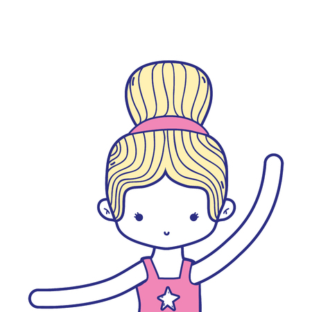 colorful girl practice ballet with bun hair design vector illustration Illustration