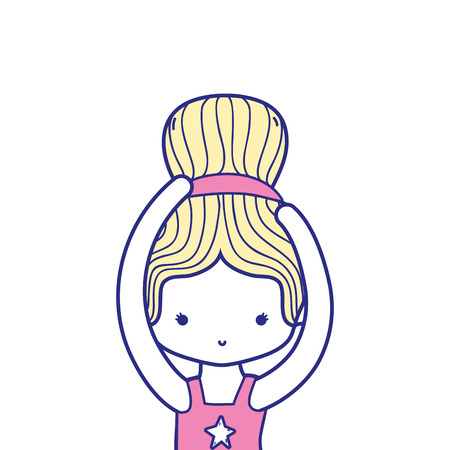 colorful girl practice performance ballet with bun hair design vector illustration