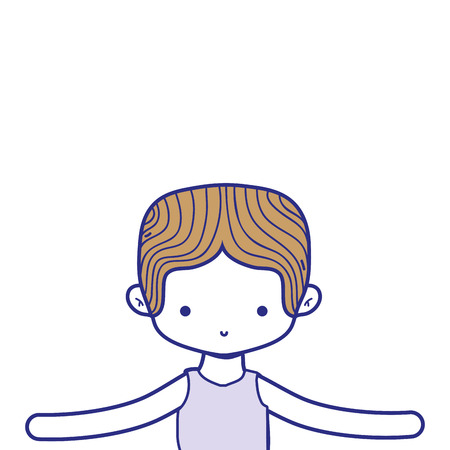 colorful boy dancing ballet with t-shirt and hairstyle vector illustration