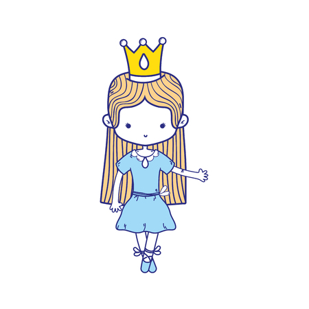 colorful girl dancing with crown and straight hair design vector illustration Vettoriali