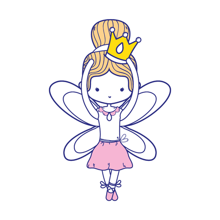 colorful girl dancing ballet with crown and wings design vector illustration