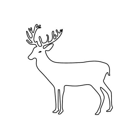 line reindeer animal to merry christmas celebration