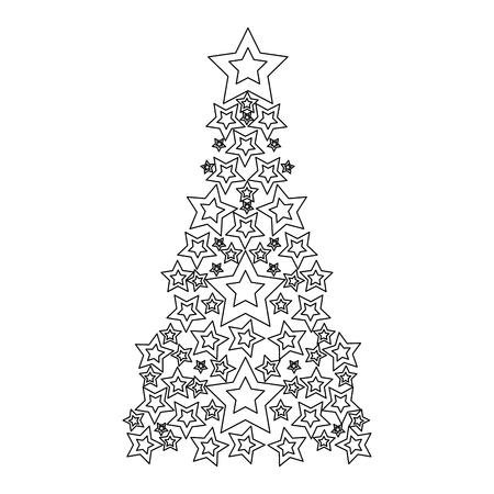 Line pine tree with stars decoration