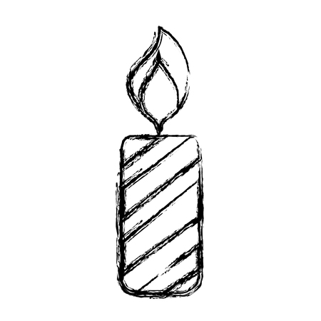 figure candle fire flame to christmas decoration vector illustration