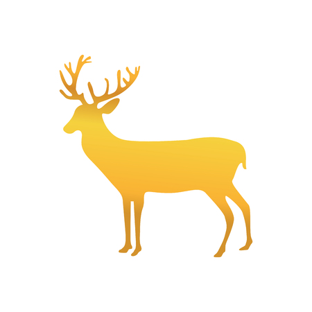 gold reindeer animal to merry christmas celebration