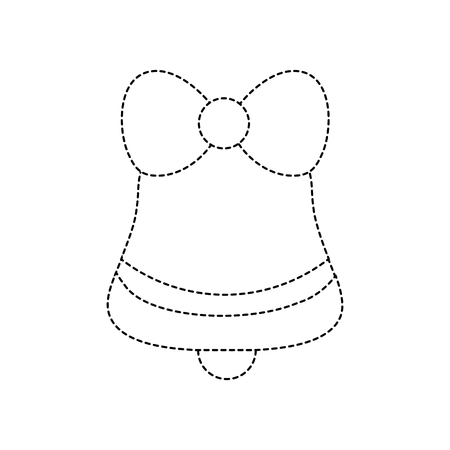 dotted shape bell with bow decoration to merry christmas
