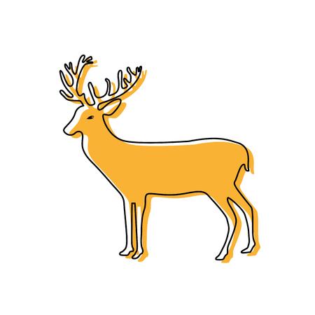 color reindeer animal to merry christmas celebration Illustration