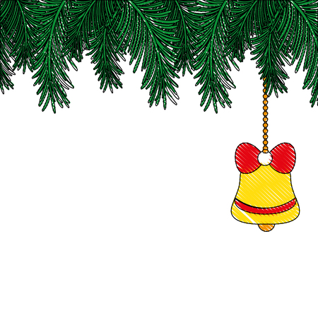 grated garland with bell hanging decoration to christmas Иллюстрация