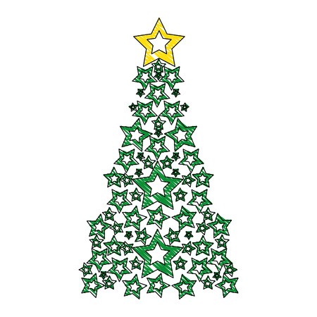 grated pine tree with stars decoration to christmas