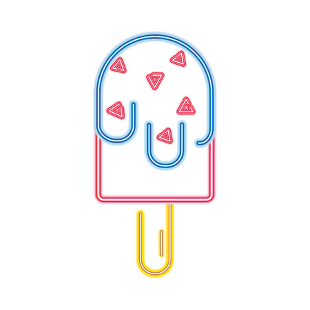 neon sweet ice lolly dessert snack Stock Illustratie