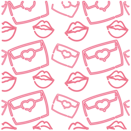 neon e-mail message with lips style background vector illustration