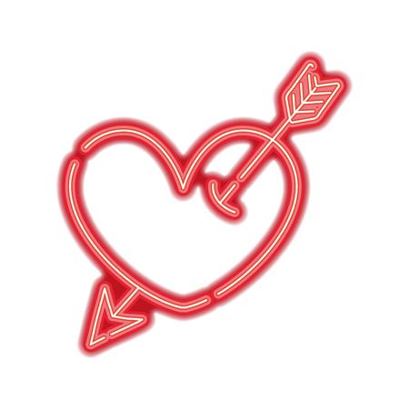 neon heart symbol of love with arrow style inside vector illustration Illustration