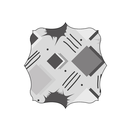 grayscale square with memphis style geometric background vector illustration
