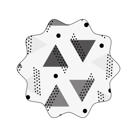 Grayscale star with memphis graphic abstract background Illustration