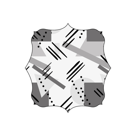 Grayscale square with figures geometric style background