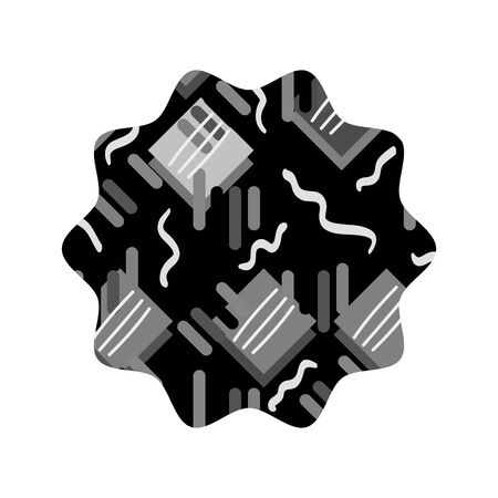 grayscale star with graphic memphis geometric background vector illustration