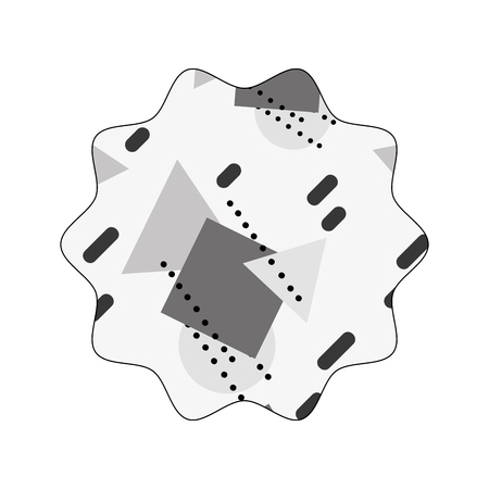 Grayscale star with graphic geometric art background vector illustration